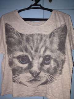 Cat print cropped top