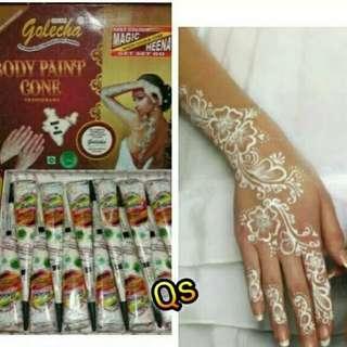 Henna golecha putih / body paint / white hena / hiasan tangan / wedding