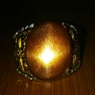 Natural Sunstone Feldspar Aventurescene Effect 4 Sharp Stars. Asli Batu. No Fake. No Man Made. Metal Titanium. Size 9.