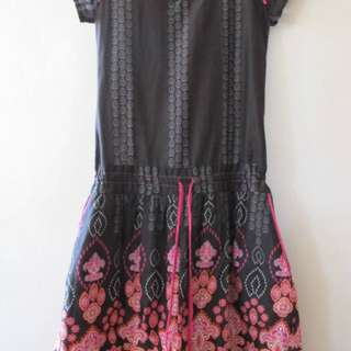 PRE-LOVED TWILO BROWN PRINTED DRESS FOR GIRLS SIZE 12