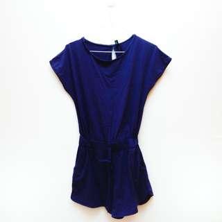 Soft Cotton Royal Blue Playsuit