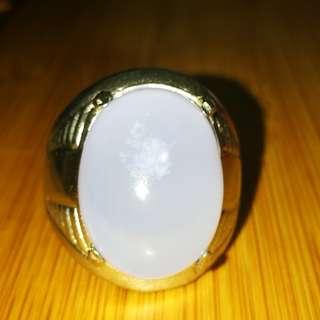 Natural Lavendar Chalcedony Gemstone ring. Size 9. Titanium metal. Asli Batu. No Fake. No man made.