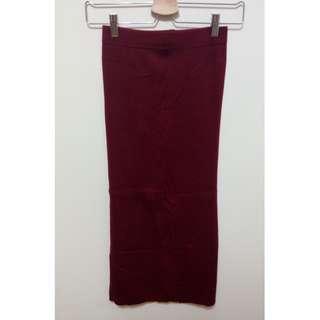🚚 [二手] 開衩針織高腰裙