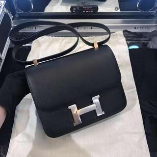 Hermes constance 24 black,  rose gold C stamp