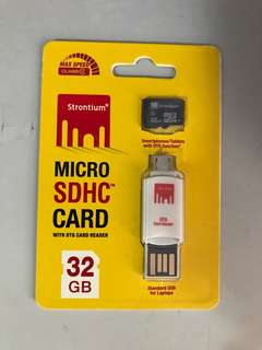 Strontium Micro SDHC 32GB Card with OTG card reader