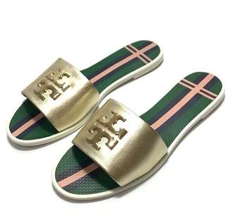 TB Logo Jelly Slide-Metallic Veg Leather (Spark Gold) size 7 & 8