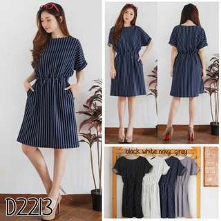 Dress wanita DRESS D2213 dress salur midi dress dress scuba
