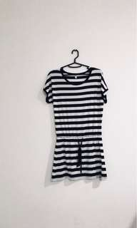 stripes dress/ dress santai