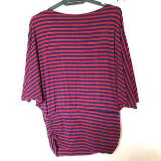 Red and Blue Striped Top