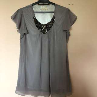 Orioli Grey Top with Sequins
