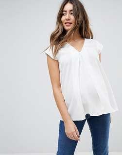 ASOS Maternity white v neck origami blouse