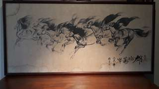 ANTIQUE INK PAINTING OF 8 GALLOPING HORSES OF SUCSESS /AUCTION