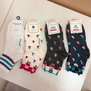 🚚 襪子 韓國襪 長襪 條紋 聖誕