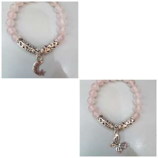 Rose quartz bracelet with charm