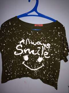 """""""Always Smile"""" Green Cropped top"""