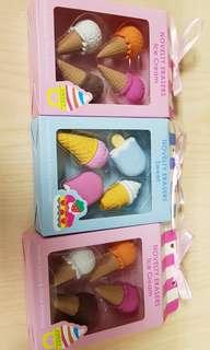 3 sets of Novelty Eraser Ice Cream