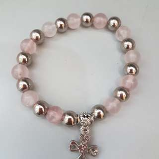 Rose quartz bracelet with cross/ mama mary