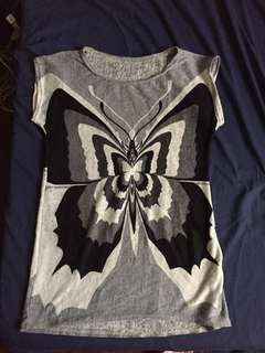 Butterfly Top Gray and Black