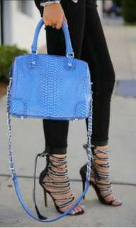 Alice and olivia by stacey bendet python skin embossed leather boston bag
