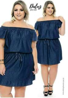 PLUSSiZE DENiM DRESS P390 Freesize/Onesize/Fitd up to XL Frame Soft Denim Fabric Code : Sc