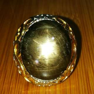 Natural Black Star Sapphire. Star HItam. Batu Asli. No fake. No Man made. Titanium metal uesed. Ring
