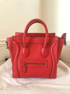 Celine Red Nano Luggage