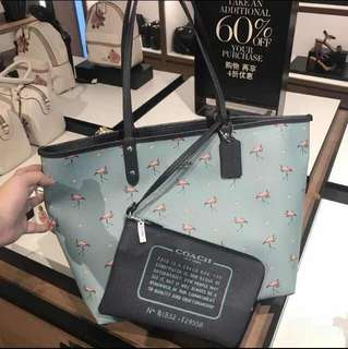 Coach Flamingo Reversible Tote and Pouch