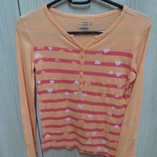 PRE-LOVED OLD NAVY ORANGE LONG SLEEVE SHIRT FOR GIRLS SIZE M