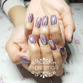 Full set Holographic & Chrome Mirror gel manicure