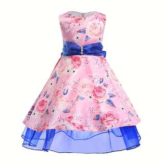 🚚 [PRE-ORDER] KIDS GILRS FLORAL PRINTING PRINCESS DRESS SLEEVELESS DRESS BIRTHDAYS DRESS