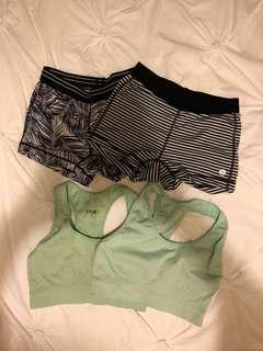 2x running bras 2x running shorts
