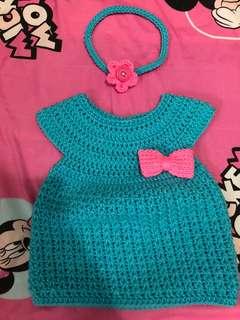Newborn baby crochet dress