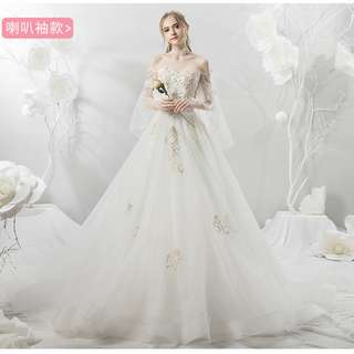 Wedding Collection - Romantic T-Off Shoulder Golden Embroidered Lace Long Tail Wedding Gown