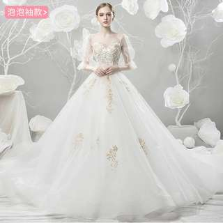 Wedding Collection - Bubble Transparent Sleeves Design Long Tail Wedding Gown