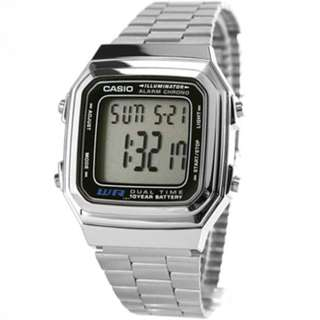 GV Casio Silver Stainless Steel Digital Watch A178WA-1ADF