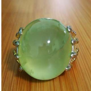 Natural Green Prehnite from Mali. Emerald Color. No Fake. No man made. Real. Titanium ring. size 9.