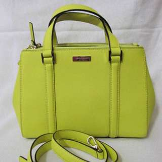 KATE SPADE NEWBURY LANE SMALL LODEN LEATHER YELLOW GREEN NEW AUTHENTIC