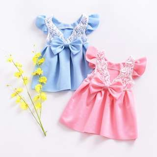 [PRE-ORDER] GIRL DRESS FLY SLEEVE LACE BOW BIRTHDAY PARTY PRINCESS DRESS