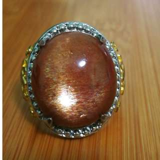 Natural Copper Hue Sunstone with 4 Stars. Feldspar. Aventurescence. Real. No Fake. No Man made. Titanium Metal. Size 9.