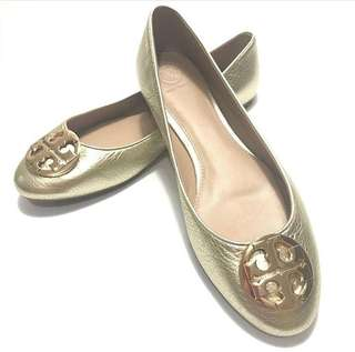 TB Claire Ballet Flat Metallic Tumbled Leather (Spark Gold) size 10