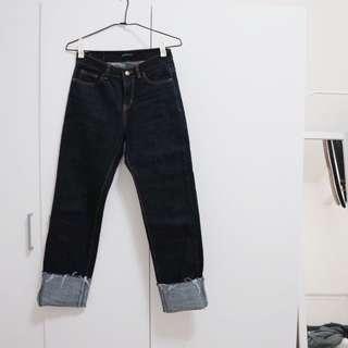 🚚 🇰🇷韓國製 百搭!大反折牛仔原色深色直筒褲 M號