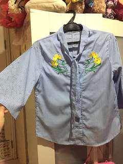 Zara look alike embroidery stripe bordir blouse