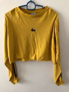 Stussy Yellow Long Sleeve Crop Top