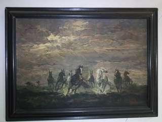 """Lukisan Cat Minyak """"7 Horses"""""""
