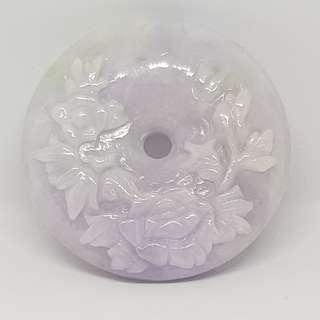 JYP0379917Natural Grade A Jadeite Pendant. 天然冰种A货翡翠 (平安扣挂件)。