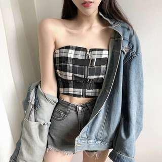 [PO]Checkered Heist Bandeau Crop Top
