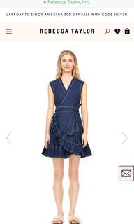 New Rebecca Taylor Navy Ruffle Wrap Dress