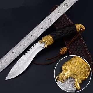 Germany Damascus Forging Knife High Hardness Survival Knife 大马士革钢刀德国手工锻打高硬度荒野求生防身刀#537