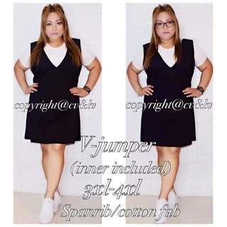 PLUSSiZE 2iN1 V-JUMPER inner included P470 Freesize/Onesize/Fits 3XL-4XL Frame Spanrib/Cotton Fabric Code : CcV