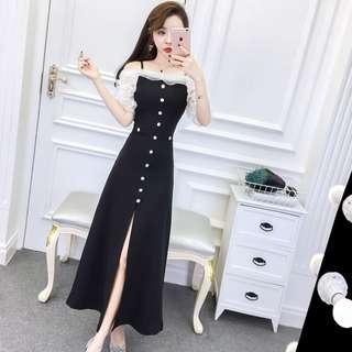 Pre order Black white off shoulder slit prom bridesmaid dinner dress  RBP0789